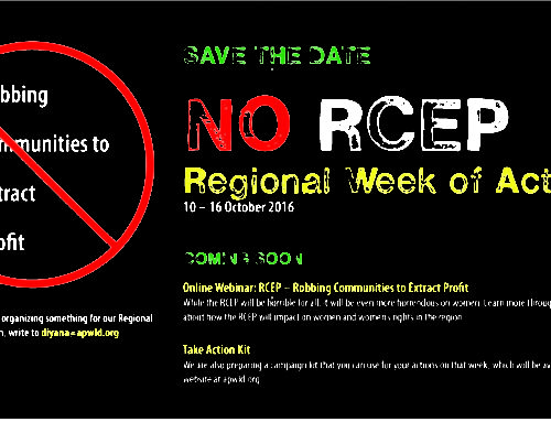 Save the date: NO RCEP Regional Week of Action