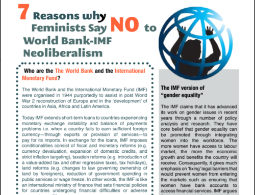 New Resources: Seven Reasons Why Feminists Say No to World Bank-IMF Neoliberalism