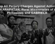 Black and white photo of seven people - 4 women and 3 men, with their hands stretched out facing the camera. Text on top says, Drop All Perjury Charges Against Activists of KARAPATAN, Rural Missionaries of the Philippines and GABRIELA. Text on the bottom left are 3 hashtags saying Hands Off WHRDs, Together We Defend and Stop The Attacks. APWLD logo on the right bottom