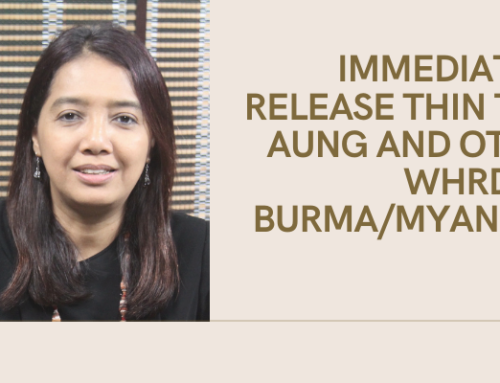 Immediately Release Thin Thin Aung and Other WHRDs In Burma/Myanmar